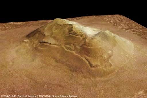 3D computer-generated model of the 'Face on Mars' mesa