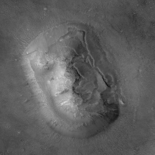 MGS view of the 'Face on Mars' mesa, MOC image E03-00824, 8 April 2001